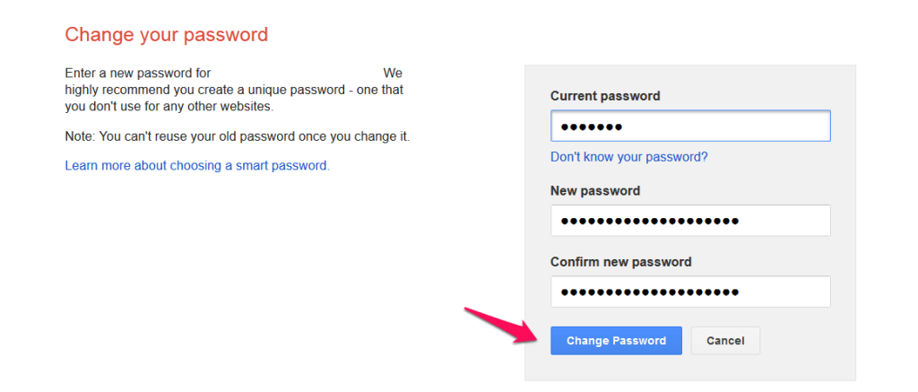 Change your AdSense password