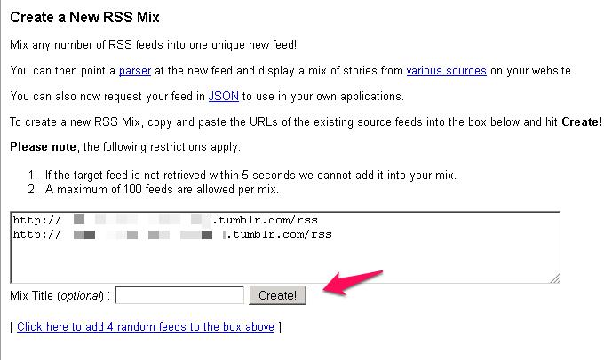 create a RSS mix