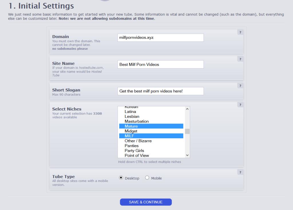 Screenshot of the initial settings