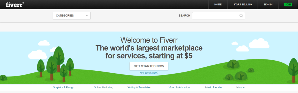 Screenshot of the Fiverr website