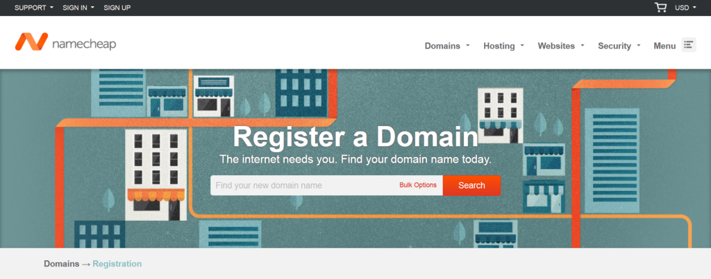 Screenshot of the Namecheap website