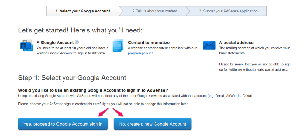 Sign up for an AdSense account