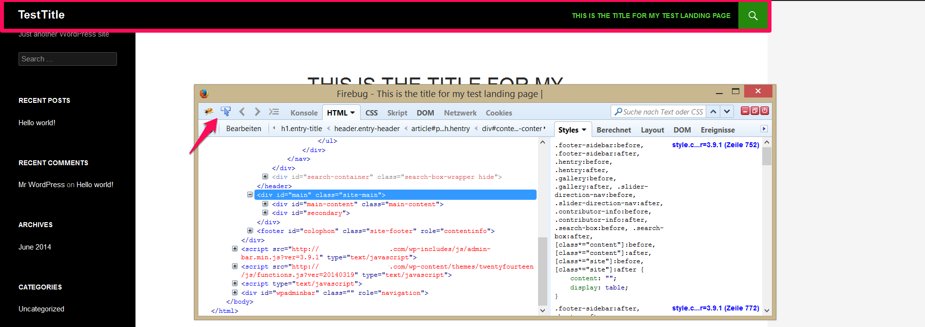 Inspect the site's element using Firebug
