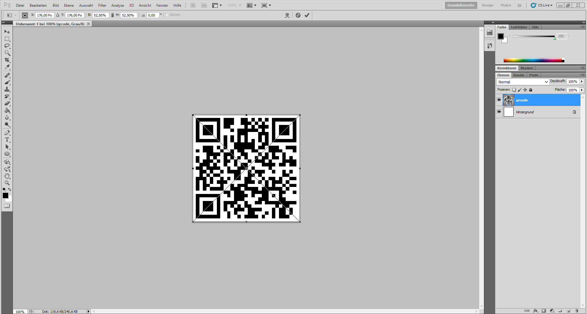 Load the standard QR code in Photoshop