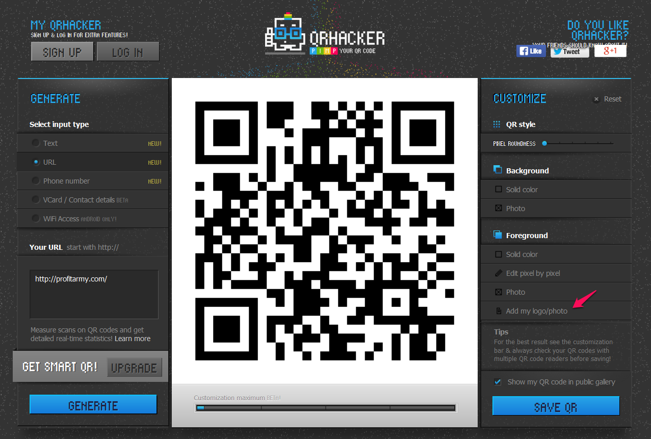 Add your  logo on QRHacker.com