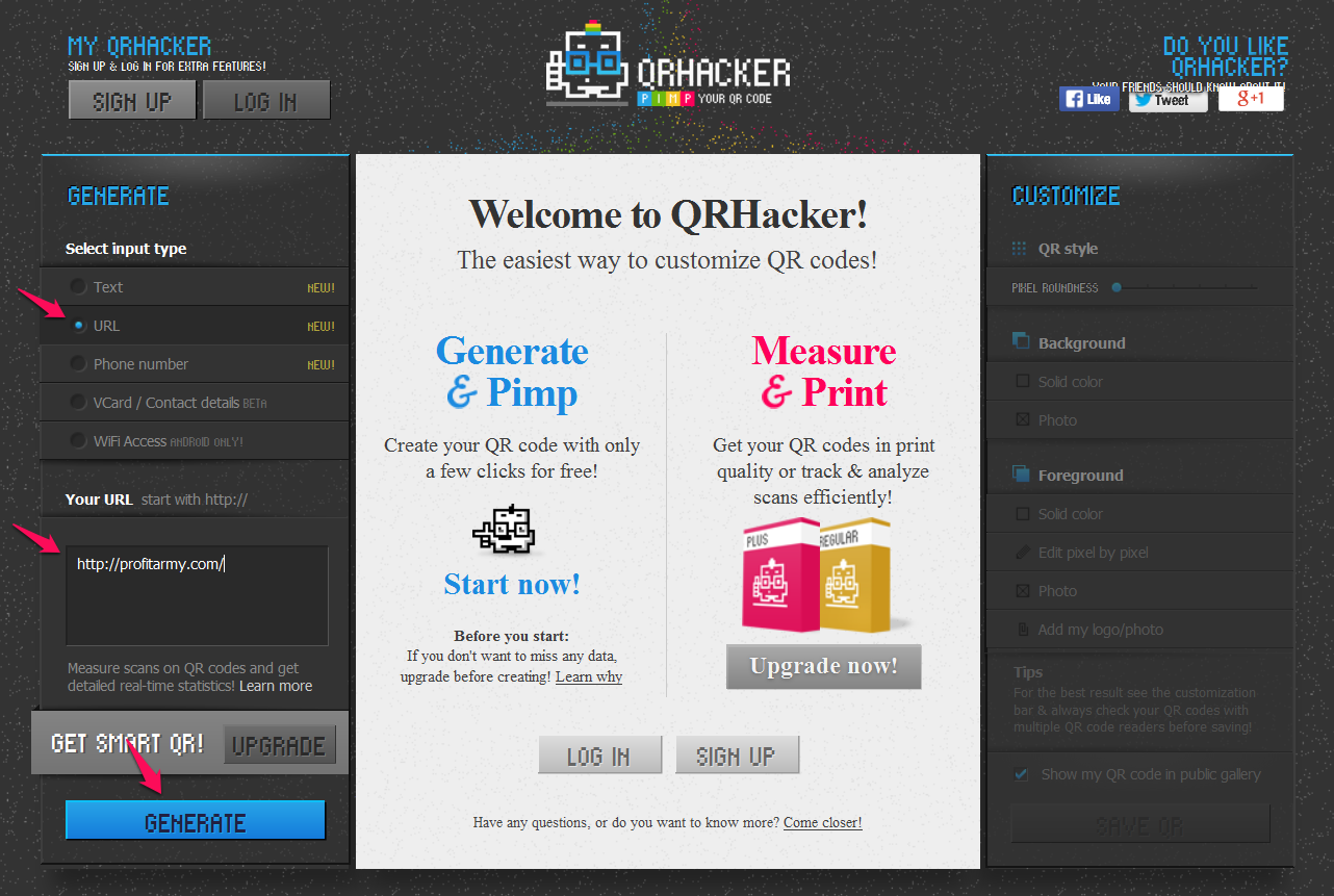Create a custom QR code at QRHacker.com