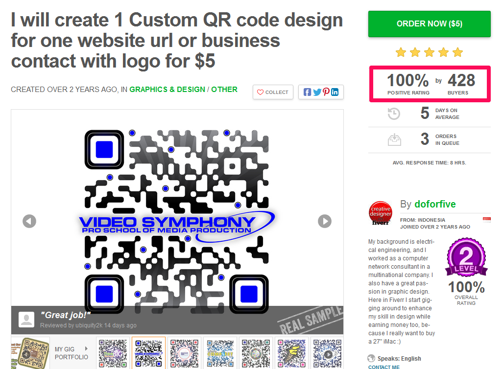 Sell custom QR codes on Fiverr