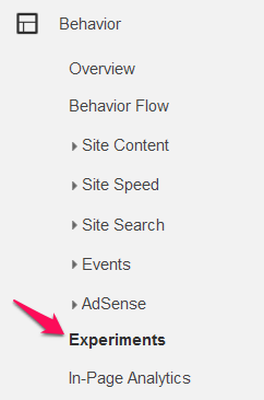 Choose Experiments in your Google Analytics account