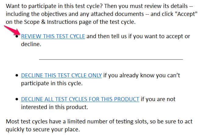 "Click on ""review this test cycle"""