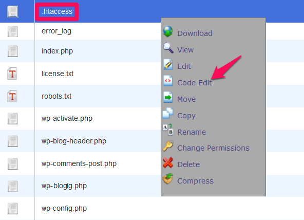 "Edit your .htaccess file through ""Code Edit"" in cPanel"
