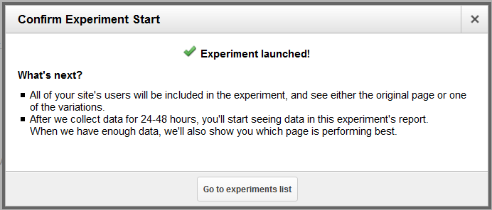 Screenshot of the popup after launching the experiment