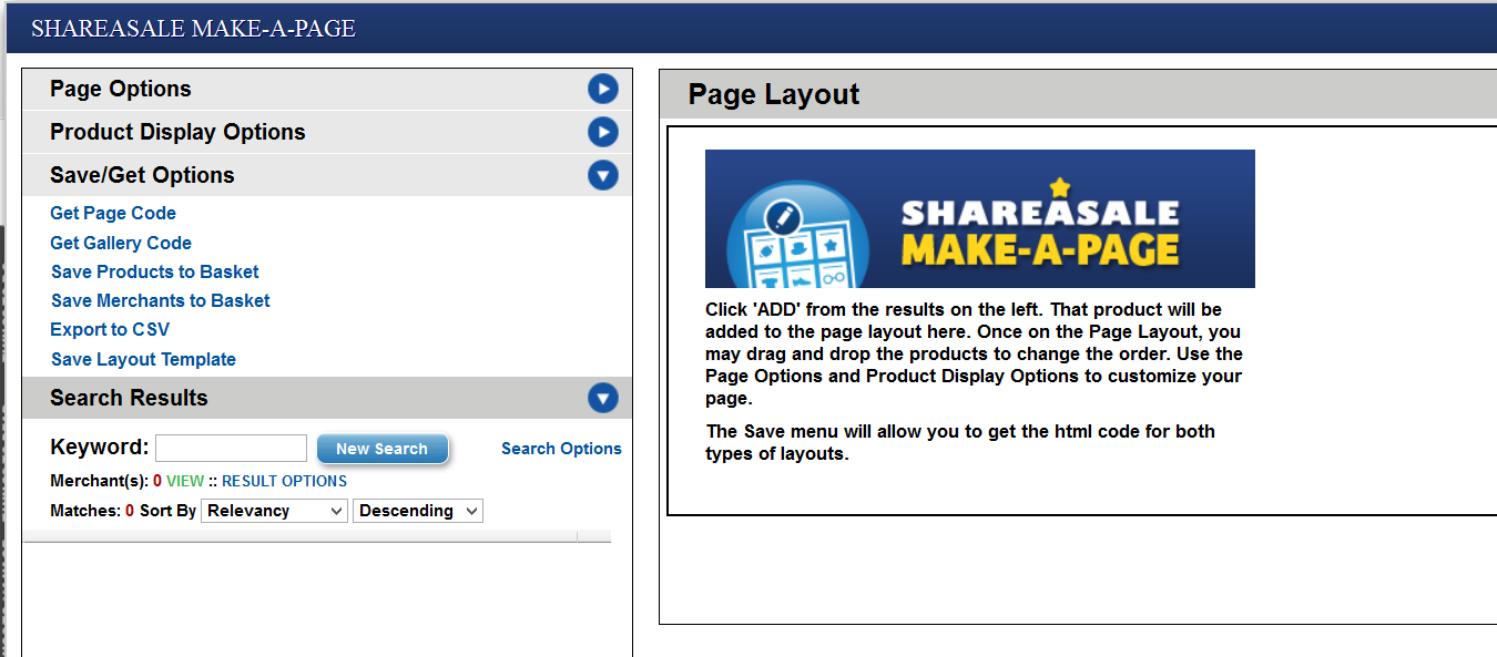 The Make A Page feature of ShareASale