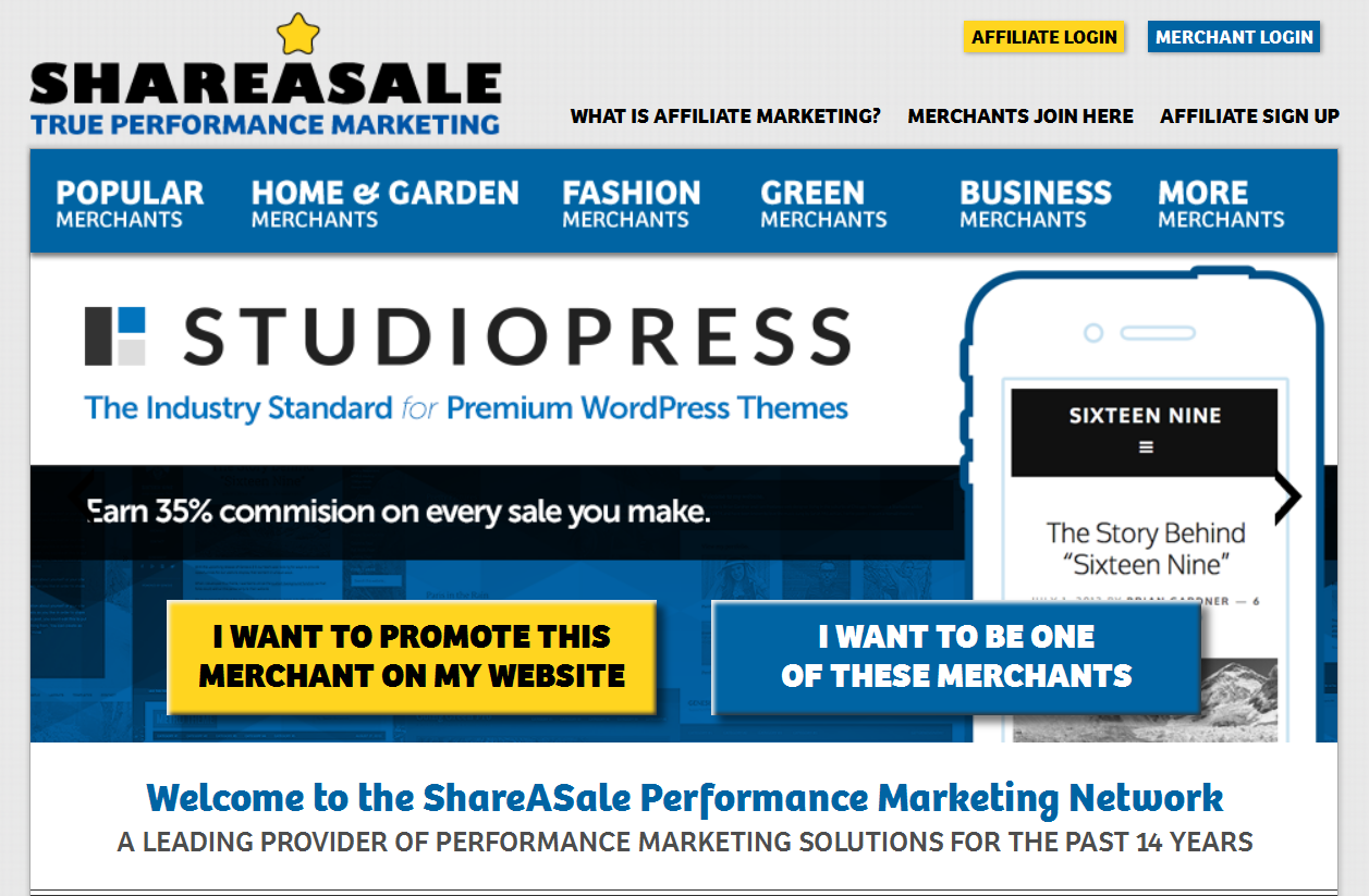 Screenshot of the ShareASale website