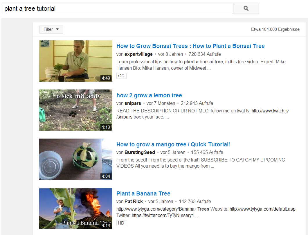Skim through the list of YouTube channels