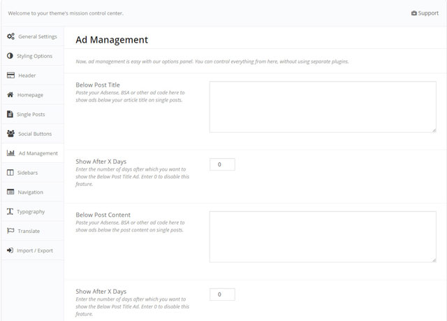 MyThemeShop - ad management